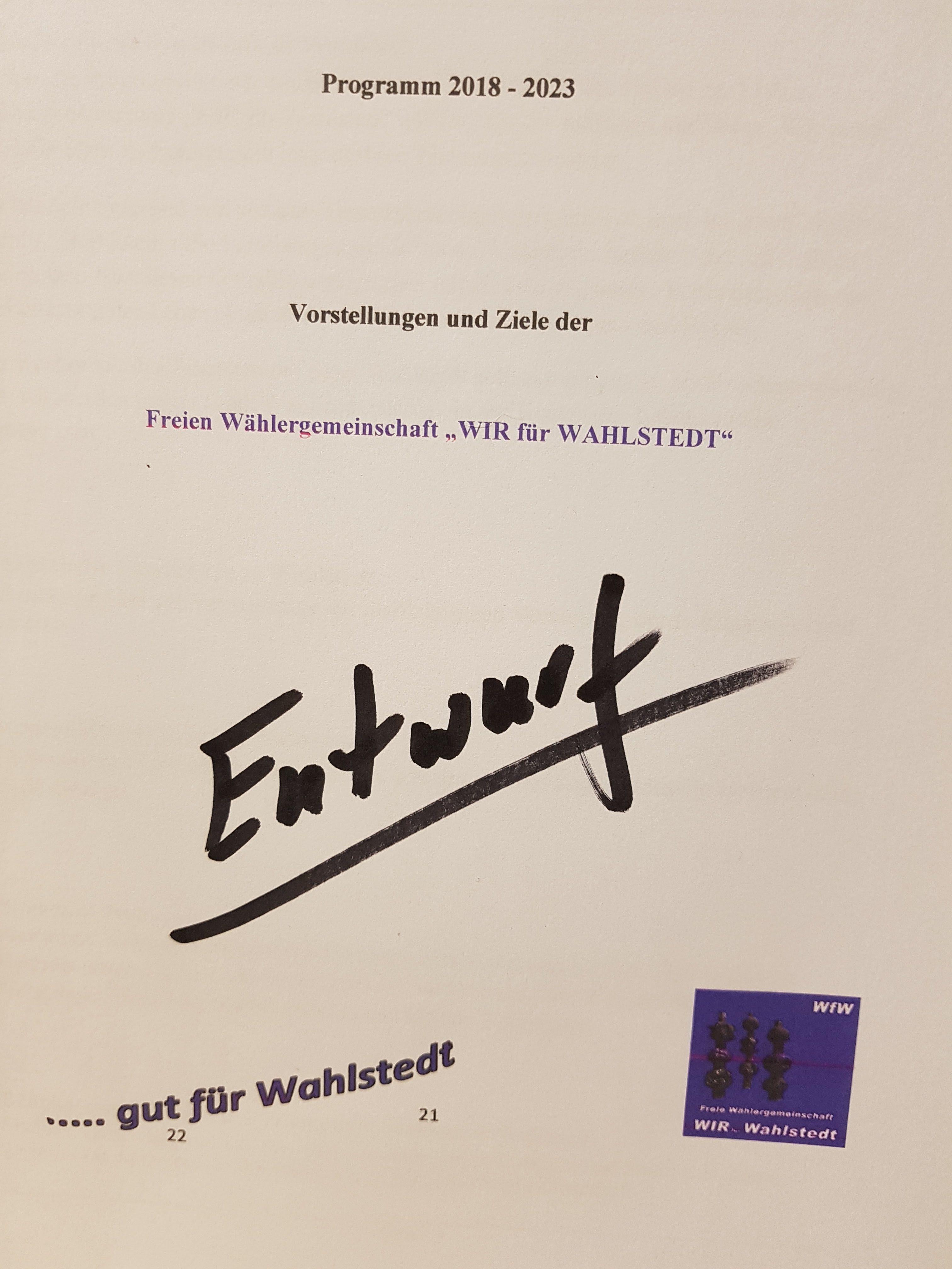 WfW, Programm-Erarbeitung für die Zeit 2018 – 2023